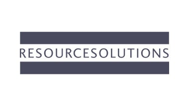 Resource Solutions white logo on blue background