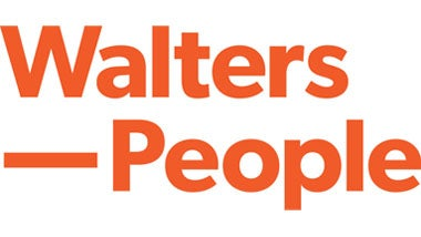 Walters People white logo on orange background